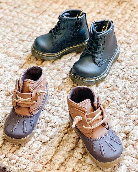 These boots make the perfect fashion statement for toddlers! Doc martens duck boots baby girl shoes family photos girl fashion Amazon find   #LTKunder50 #LTKshoecrush #LTKbeauty