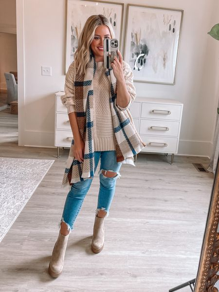 Wearing small in sweater, boots tts, scarf from pink lily too (Alexa20 for discount) // 26 short in jeans // fall outfit //   #LTKstyletip #LTKshoecrush #LTKunder50