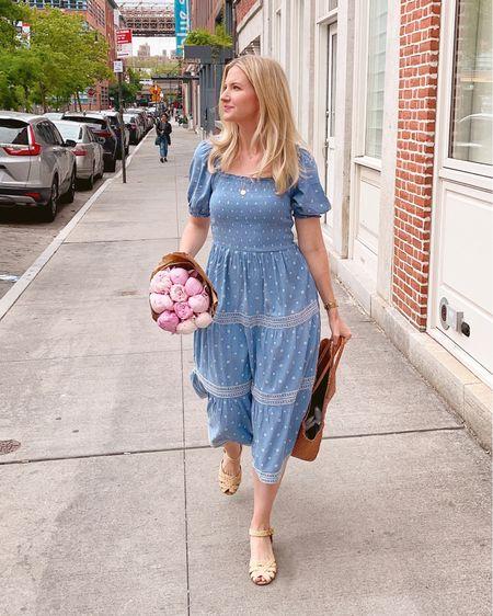 Blue smocked dress and basket bag! http://liketk.it/3hrAX #liketkit @liketoknow.it
