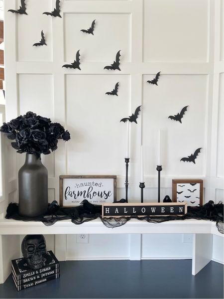 H A L L O W E E N \ spooky mantel💀  #halloween #halloweendecor  #LTKSeasonal #LTKhome #LTKunder50
