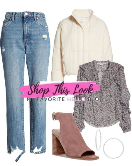 Casual fall outfit with jeans and open toe bootied and cropped bomber jacket. #nordy #nordstrom #falloutfit http://liketk.it/3k3MZ #liketkit @liketoknow.it   #LTKshoecrush #LTKstyletip #LTKsalealert