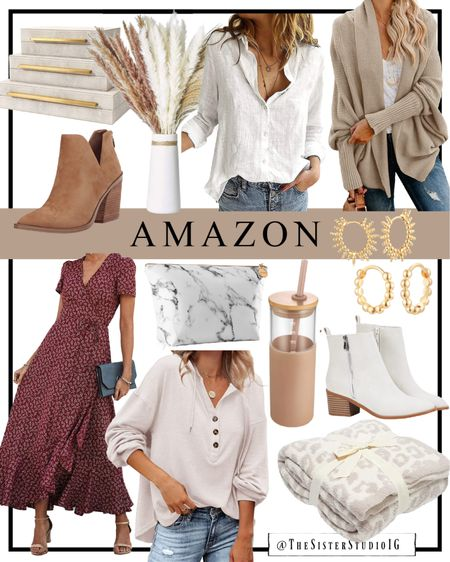 New Amazon finds! Neutral sweaters for fall and cute home decor. I'm also loving these tan and white fall booties and these adorable huggie gold earrings!😍     #LTKhome #LTKstyletip #LTKunder50