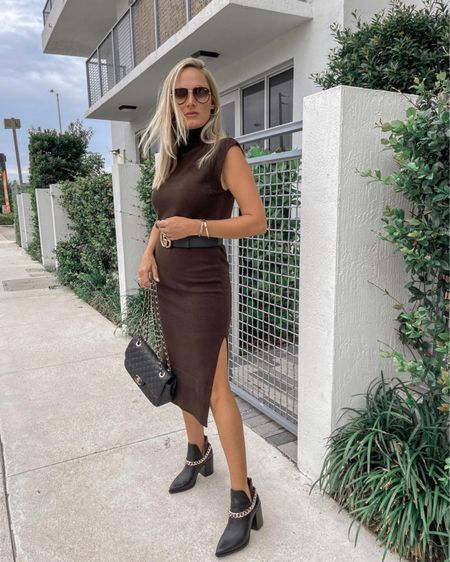 Another best seller that still in stock. Loving the color of this dress for fall  #nsale  Sweater dress Steve Madden Booties Date night outfit   #LTKstyletip #LTKunder100 #LTKsalealert