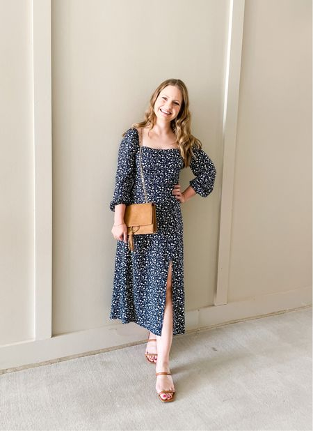 Adore this floral square neck midi fall dress from Francesca's. Definitely size UP one since they are juniors sizing! Wearing a S.  #LTKstyletip #LTKSeasonal #LTKunder100