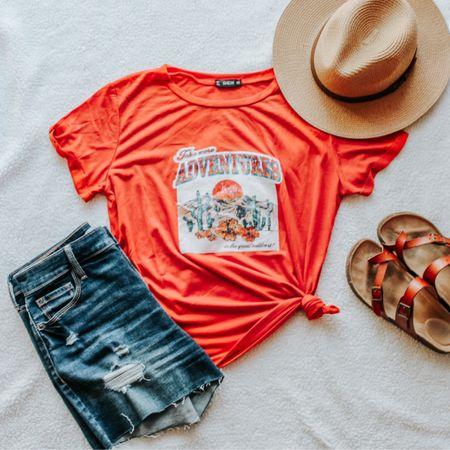 Adventure tee, adventure t-shirt, high rise shorts, mom outfit, graphic tee, amazon finds, Panama hat, summer hat, footbed sandals, old Navy, SHEIN, flatlay, simple outfits, affordable, boxy tee, distressed shorts.   http://liketk.it/2RuJ0 #liketkit #ltkmom #ltkshoecrush #ltksummer #LTKstyletip #LTKunder50 #LTKsalealert @liketoknow.it