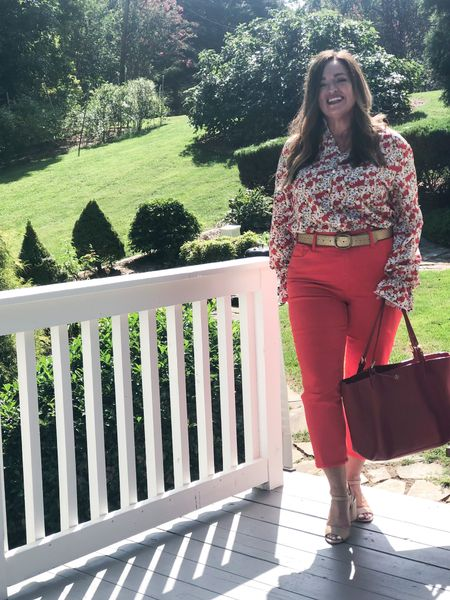 Join Me and My stylish Mondsy Friends for our weekend looks!  @fashiontandf @thestylesplash  @joyousstyling  @lucybertoldi  @highlatitudestyle  @shelbeeontheedge  @sharing_a_journey  @asksuzannebell  @pearlsandpantsuits  @ameliasfleurs  Florals are coming in strong for Fall! This blouse is so fabulous for $14.00! It can be worn casual or for business! I love it with my gold belt! Purse: @toryburch #LTKbacktoschool  #LTKcurves #LTKSeasonal