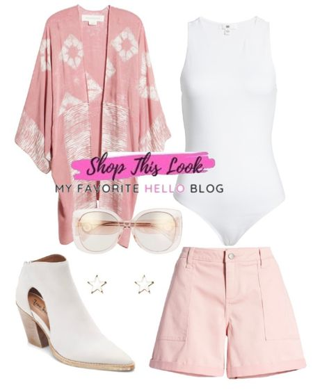 Pink shorts summer outfit with white boots and kimono. #summeroutfit #pinkshorts #whiteboots  #LTKunder50 #LTKunder100 #LTKstyletip