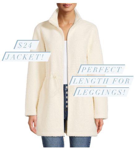 Sherpa jacket perfect for leggings! #shacket #sherpa #jacket #coat #fallfinds #falljacket #walmartfinds