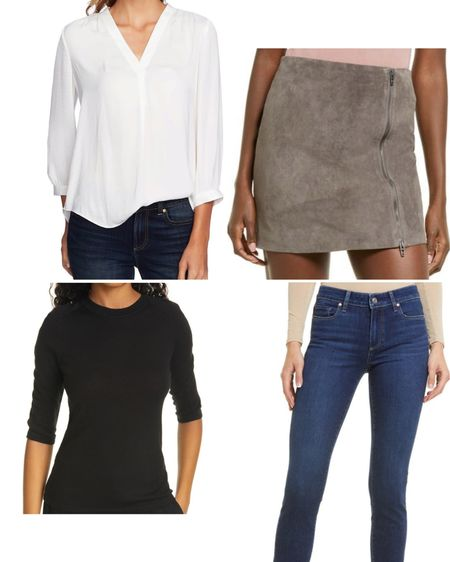 Some top picks from Nordstrom. Fall is not complete without a suede mini skirt from BlankNYC, cigarette jeans, a white top or cashmere sweater!