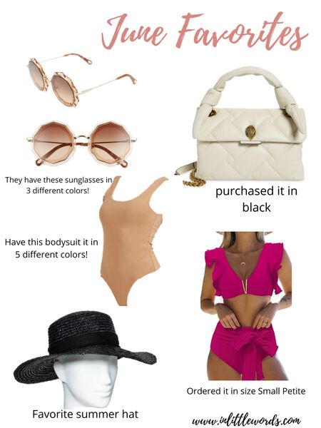 June Favorites  Purchased bag in black  Bathing suit and bodysuit purchased a size small.  #liketkit #LTKstyletip #LTKunder50 #LTKunder100 @liketoknow.it Shop my daily looks by following me on the LIKEtoKNOW.it shopping app http://liketk.it/3j8dS