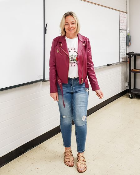 Casual everyday weekend Friday teacher outfit featuring a pink purple faux leather moto jacket, Guns n Roses rock band tee, skinny high waist jeans, and studded sandals #teacher #spring #casual #motojacket #jeansoutfit #studdedsandals #gunsnroses #rocktee #bandtee #friday #petite #Lifestyle #weekwnd http://liketk.it/3eaM2 @liketoknow.it #liketkit