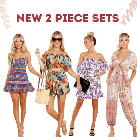 Stylish 2 piece sets! Shorts & pants paired with patterned tops. Great for this season.