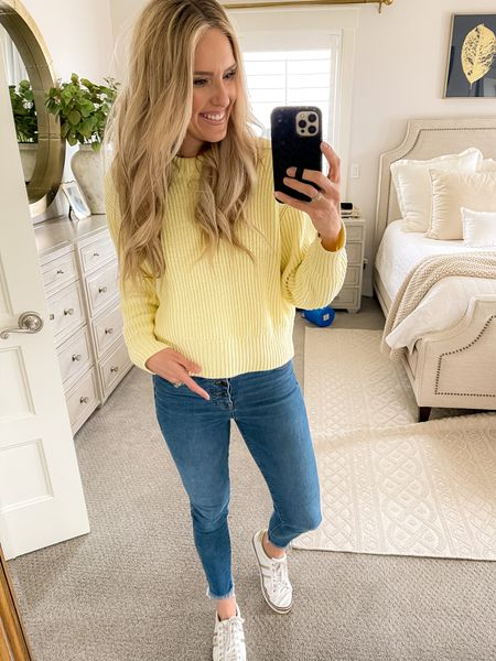 This perfect yellow sweater is perfect for spring! I love the crew neck. It's only $26! Order 1 size up. I'm wearing a medium! http://liketk.it/3aNId #liketkit @liketoknow.it #LTKunder50 #LTKunder100 #LTKstyletip