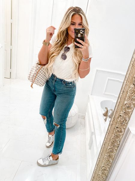 Today's outfit 🙌🏻  Wearing medium in tee (BEST TEE EVER!) obsessed with these jeans! High waisted and perfect for every day!   #LTKstyletip #LTKshoecrush #LTKunder50