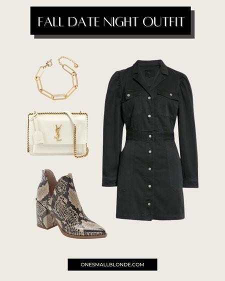 Black denim dress and snakeskin booties for fall date night outfit idea 🖤✨🍂   #LTKshoecrush #LTKstyletip #LTKSeasonal