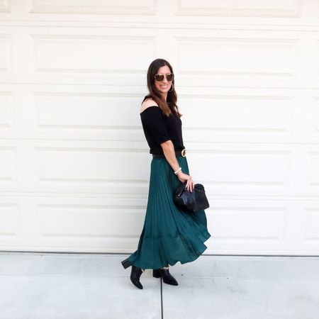 Loving this green pleated skirt gif fall outfits to wear now, and also the upcoming holiday season 🙌 it's a great investment for multiple seasons! 💃🏻  #LTKstyletip #LTKitbag #LTKHoliday