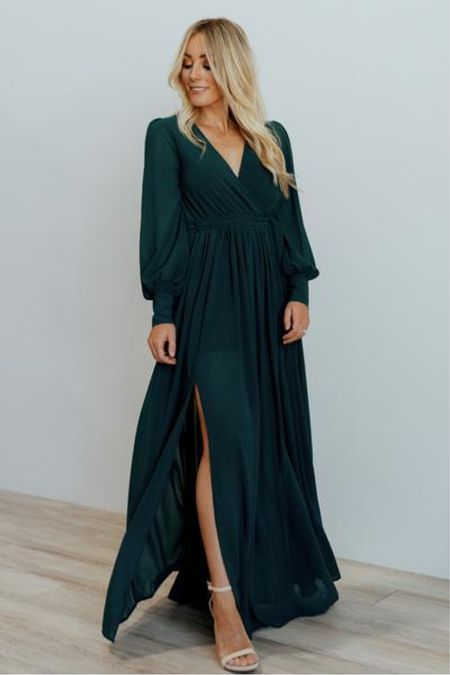 The perfect flowy maxi dress for an engagement session or as a wedding guest! It comes in multiple colors like emerald green, yellow, burgundy, and rust @liketoknow.it #liketkit http://liketk.it/374Rc #LTKunder100 #LTKstyletip #LTKwedding