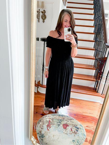 Can never go wrong with an off shoulder black maxi dress for summer through fall!     #LTKunder50 #LTKstyletip #LTKtravel