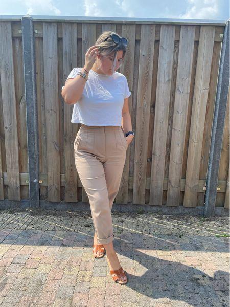 Monki top zara trousers newlook via asos slippers