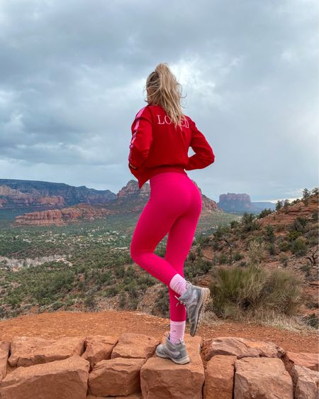 My Valentine's inspired workout hiking outfit. These yoga pants and workout set is from spiritual gangster but this cherry color is pretty much sold out. I found it available on carbon 38 and even on sale for under $100. I love pink and matching sets so this one is fun. http://liketk.it/39aQA #liketkit @liketoknow.it #LTKfit #LTKunder100 #LTKsalealert