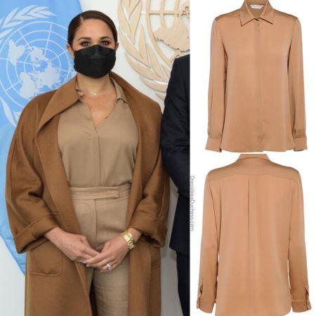 Meghan wearing Max Mara blouse #work  #LTKstyletip #LTKworkwear