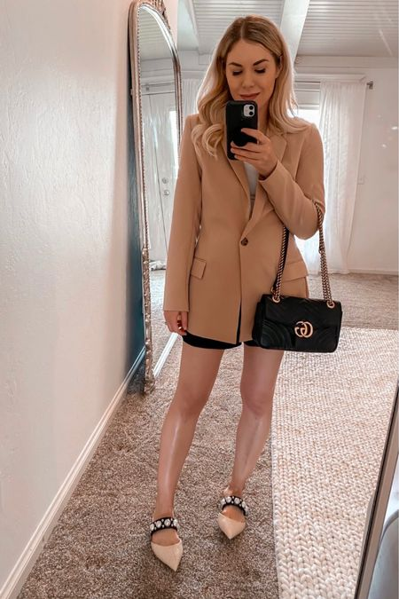 Amazon Tan Blazer, Fall Outfit, Ballet Flats, Gucci Bag  #LTKSeasonal #LTKunder100 #LTKshoecrush
