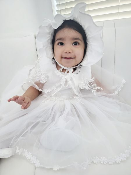 Audrey's baptismal outfit was absolutely perfect. Linked exact dress (which comes with bonnet) tights, & shoes below. http://liketk.it/3e1VB @liketoknow.it #liketkit #baby