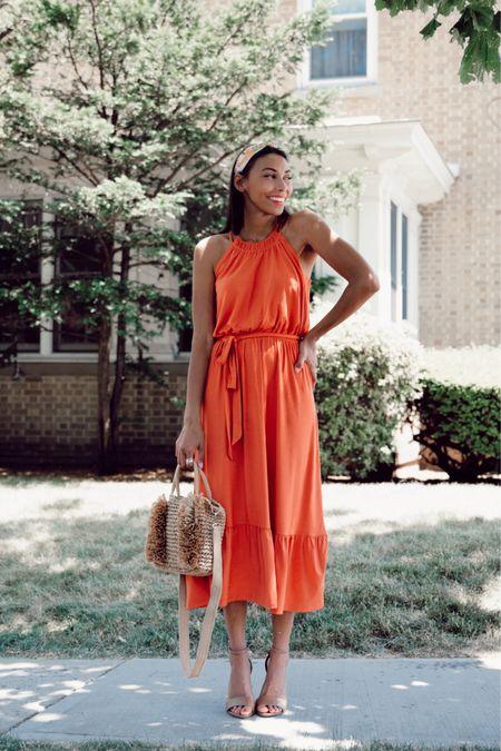 Midi dress and straw bag http://liketk.it/2Rdh6 #liketkit @liketoknow.it #LTKunder100 #LTKsalealert #LTKstyletip