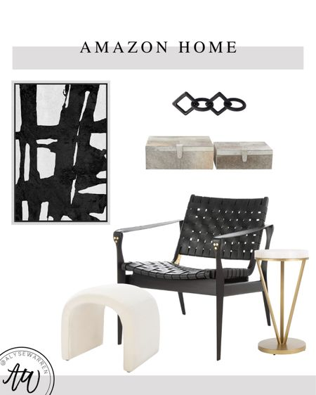 Amazon Home finds, black and white abstract art, black links object, table decor, console table, entryway, genuine leather accent chair, hide decorative boxes, waterfall ottoman, modern home decor, brass decor, side table, accent table, living room, bedroom, seating area, entryway, hearth decor, fireplace  #LTKhome