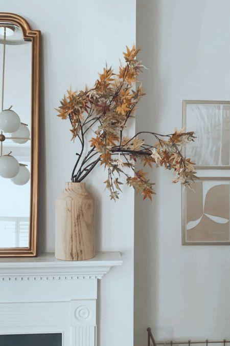 Fall mantle, fall home decor, target, pottery barn, faux fall leaves, maple leaves, fireplace   #LTKhome #LTKSeasonal #LTKHoliday