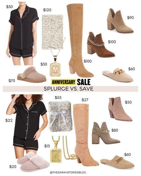 Nordstrom Sale alternatives, #nsale dupes, look for less // Save vs Splurge // pajamas, slippers, initial necklace, blanket, OTK boot, taupe booties, chain booties, chain link mules http://liketk.it/3jYUU #liketkit @liketoknow.it #LTKsalealert #LTKstyletip #LTKunder100