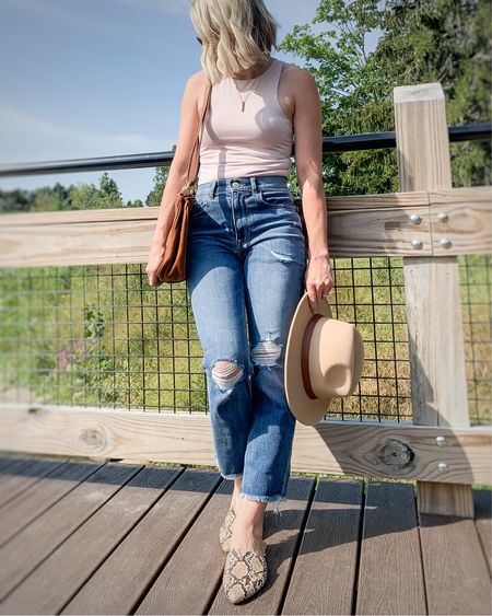 Cropped distressed jeans. An early fall outfit.   #LTKSeasonal #LTKunder50 #LTKstyletip