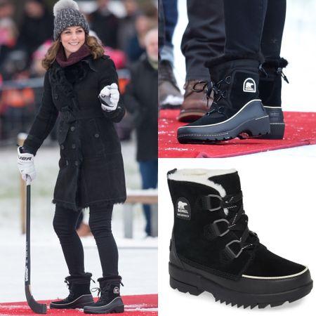 Kate wearing Sorel Tivoli boots #snow #winter #shoes   #LTKeurope #LTKstyletip #LTKshoecrush