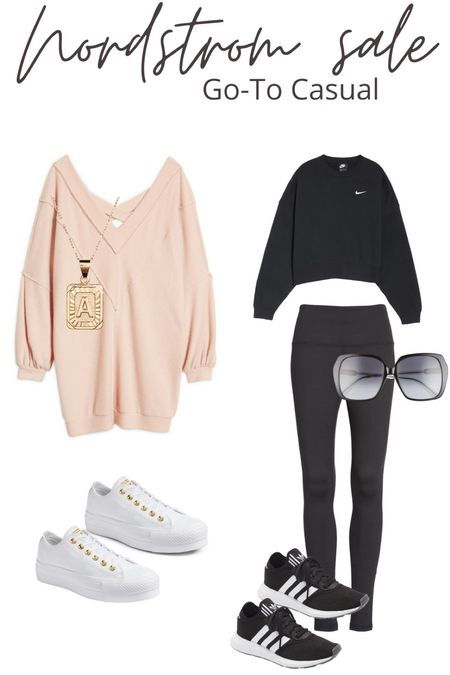 Casual looks from the Nordstrom sale. Comfortable style. Casual dress. Casual looks. Sweatshirt and leggings. White sneakers. Black on black. Monochrome.   #LTKfit #LTKstyletip #LTKunder50