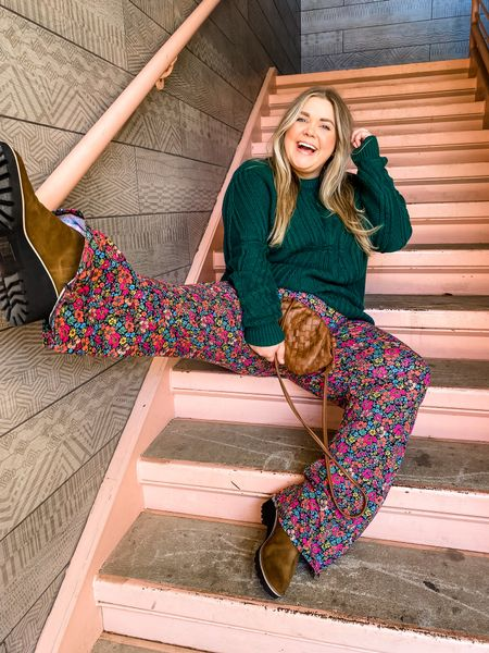 Fall floral flares outfit. Come in plus size, peptide, regular, tall, and maternity. So comfy!! Amazon sweater. dolce vita waterproof boots   #LTKshoecrush #LTKcurves #LTKunder50