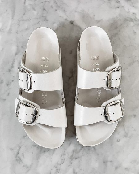 One of my favorite pairs of sandals for summer are these white Birkenstock's. They are SO comfortable and fit tts. Perfect for beach vacation, poolside, or with jeans, shoes, joggers, dresses, etc. so versatile! http://liketk.it/3hokw #liketkit @liketoknow.it #LTKshoecrush #LTKstyletip #LTKswim