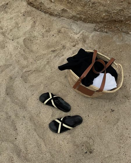 Beach day. Tagged a bunch of basket totes and cross over sandals! These Jenni Kayne slides are so good — code THERESEJ15 in case you're interested. http://liketk.it/3jZx2 #liketkit @liketoknow.it