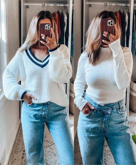 wearing m in sweater, s in mock neck, 26s in dad jeans (size up in ultra high rise)    #LTKSeasonal #LTKSale #LTKunder100