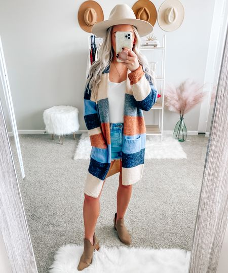 BLONDEBELLE for 20% off anything from Pink Lily 🍁 . . . Cardigan, fall, fall outfits, flat brim hat, booties, fall style    #LTKstyletip #LTKunder50 #LTKSeasonal