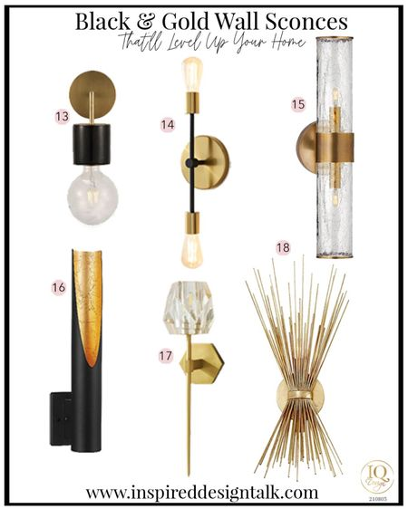 Awesome modern wall sconce for the bathroom, living room, bedroom and more!  Black and gold lighting  Bathroom sconce  Bathroom sconces, bathroom decor, bathroom inspiration, living room sconce, lighting, lighting ideas, wall sconce, living room decor, bedroom decor, bedroom inspiration, master bathroom and more.   You can instantly shop my looks by following me on the LIKEtoKNOW.it shopping app   #LTKhome #LTKbeauty #LTKstyletip