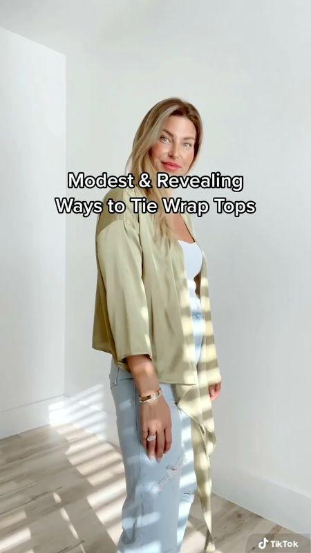 Ways to Tie Wrap Tops  #LTKstyletip #LTKSpringSale