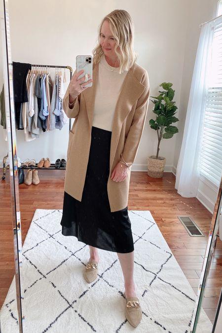 classy yet trendy, J. Crew, coatigan, Juliette Sweater Blazer, Midi Slip Skirt, Banana Republic, Silk Sweater, Steve Madden, Finn Mules  #LTKstyletip#LTKshoecrush#liketkit @liketoknow.it