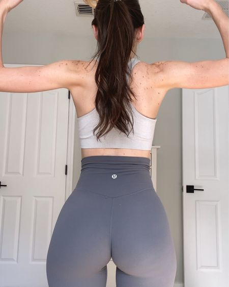 """Everyone always asks me about these leggings when I wear them! —> Lululemon Align Pants in the color """"Graphite Grey"""" / I'm a size 2 because I like them fitted + they are super stretchy!   http://liketk.it/3978G #liketkit @liketoknow.it #LTKcurves #LTKfit #LTKbeauty"""