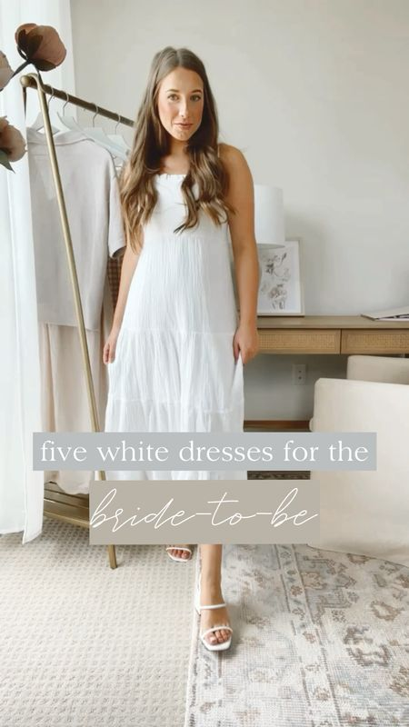 Five little white dresses for the bride to be 🤍 From engagement pictures to rehearsal dinner to bachelorette parties    #LTKstyletip #LTKwedding