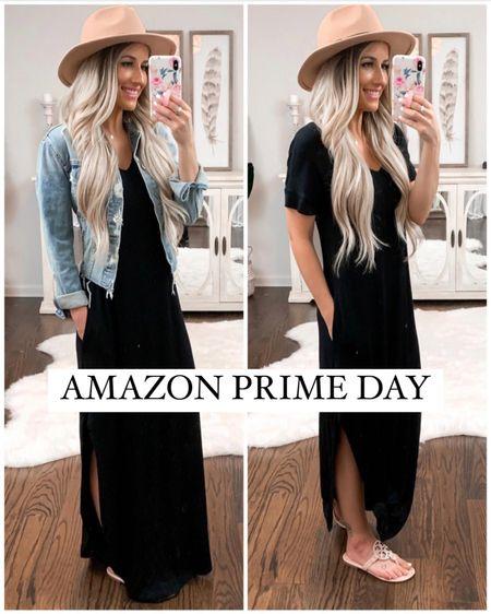 Amazon prime day sale. Black maxi dress size xs. Denim jacket. Pink Tory Burch sandals. Amazon fedora hat   http://liketk.it/3icoG #liketkit @liketoknow.it #LTKunder50 #LTKunder100 #LTKsalealert #amazonfinds #amazonprime #laurabeverlin