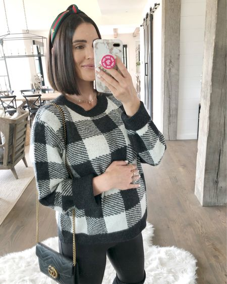 F A S H I O N // Well... I legit match my house in this buffalo plaid number!!▪️▫️▪️▫️ I'm here for it!! Only $29 and cozy AF! Paired it with my fave faux leather leggings, OTK boots, luxe Gucci bag and fancy headband! Fall outfit perfection!👌🏻🖤 Shop it all here on the @liketoknow.it app!  Sweater Size: M Leggings Size: M (maternity) OTK Boots: TTS  #otkboots #boots #ltkfall #fallfashion #sweaters #sweaterweather #maternity #LTKbump #liketkit #LTKunder50 #LTKstyletip // http://liketk.it/2EUbj
