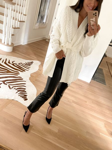 Cream sweater and faux leather pants.  #LTKunder50 #LTKworkwear