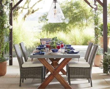 outdoor dining table w/concrete top & chairs  #LTKhome
