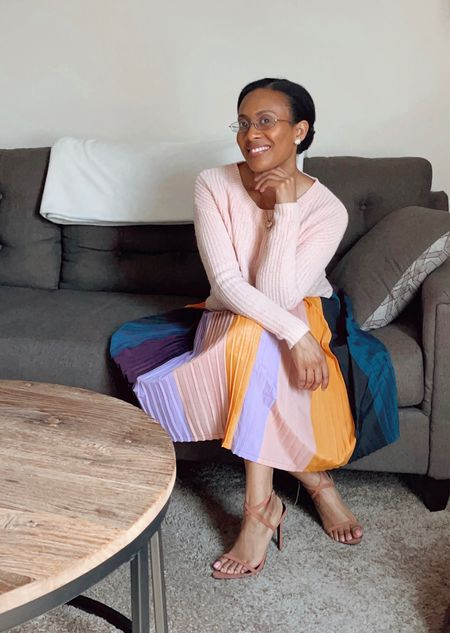 #multicoloredskirt #skirt #targetfind #target #fuzzy #sweater #pink #pinkvibes #pinkoutfit #outfit #top #shirt #heels #fall #transeasonal #falloutfit #ltkstyletip #ltkbeauty #ltkgiftguide #style #ltkunder50  #LTKHoliday #LTKSeasonal #LTKshoecrush