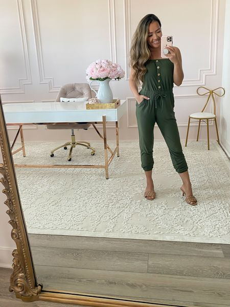 This jumpsuit is under $13! Super soft and comfy. Petite friendly and has pockets! Wearing size xs. Has detachable straps.   #LTKstyletip #LTKsalealert #LTKunder50